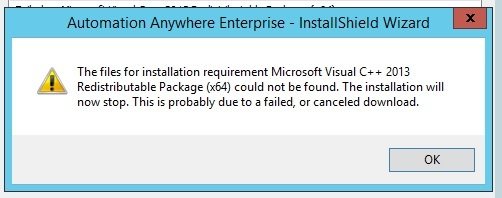 microsoft visual c++ 2013 distributor could not be found